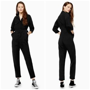 Topshop belt boiler suit jumpsuit black button up